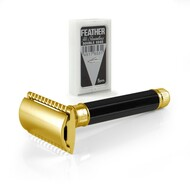 Edwin Jagger DE86811GBL Safety Razor - 23 Carat Gold & Black Octagonal