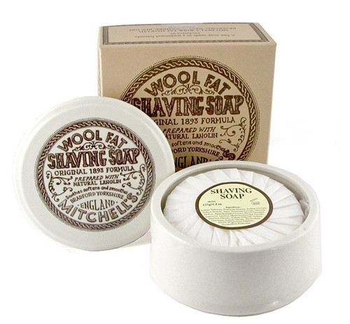 Mitchell's Wool Fat Shaving Soap w/ Ceramic Bowl