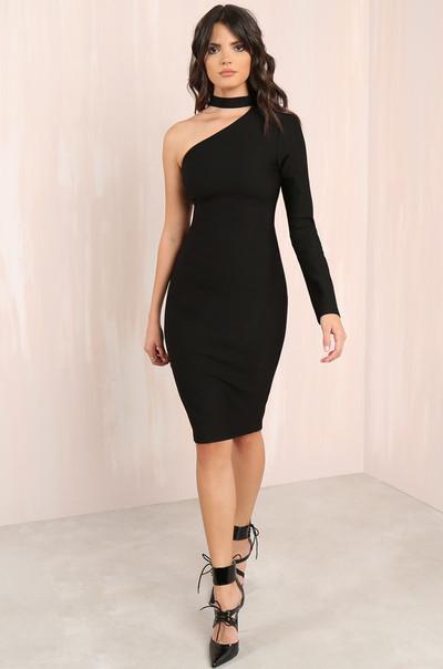 Cold Shoulder Dress - Black