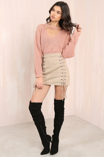 Per-Suede-Sive Skirt - Nude
