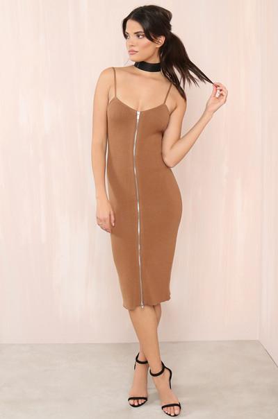 Unzipped  Dress - Tan