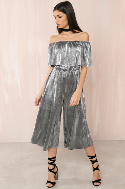 Glisten Up Jumpsuit - Pewter