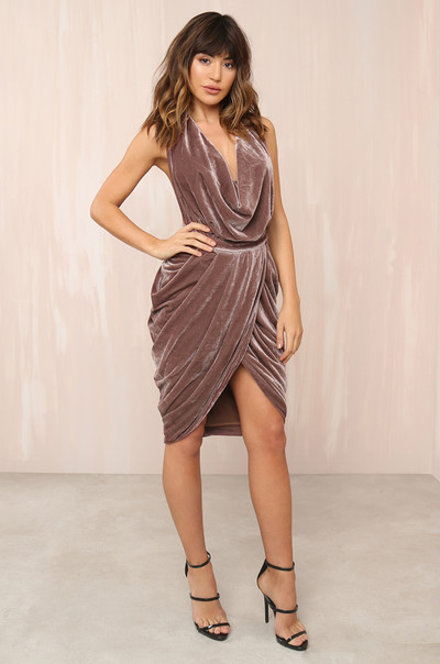 Bare With Me Dress - Mauve Velvet