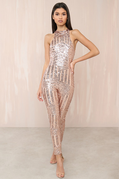 Under The Stars Jumpsuit - Rose Gold