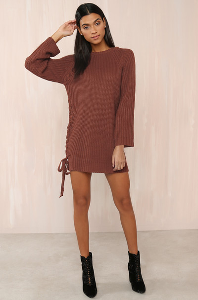 Cutting Knit Close Tunic - Rust