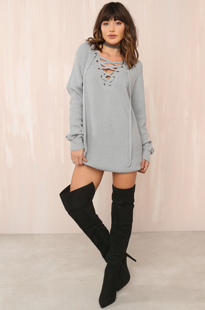 Crossing Over Dress - Grey