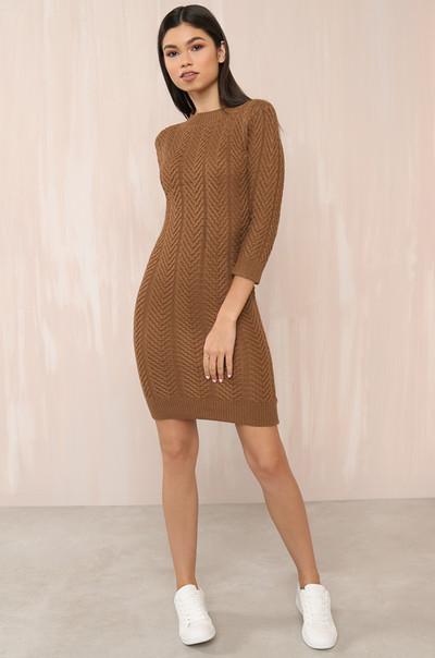 Shutting Knit Down Dress - Tan