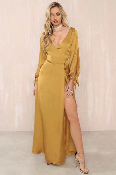 Holy Slit Dress - Mari Gold