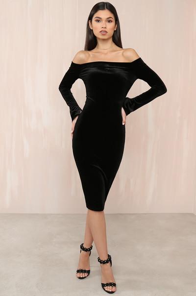 On Sleek Dress - Black Velvet