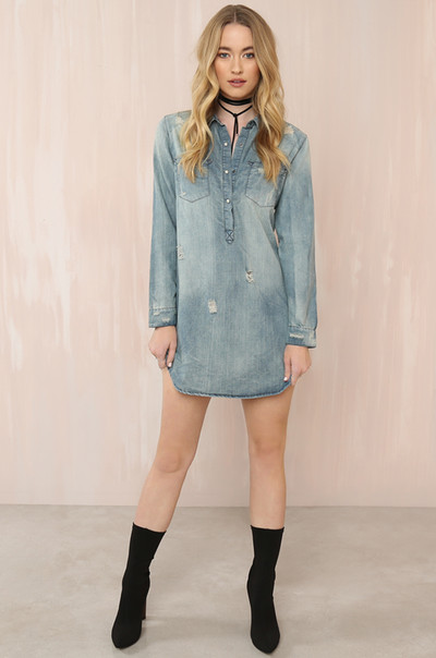 Keep It Casj Dress - Denim