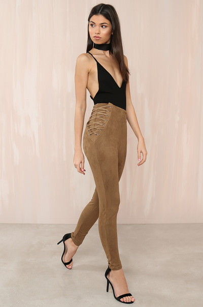 Line Crossed Pants - Camel