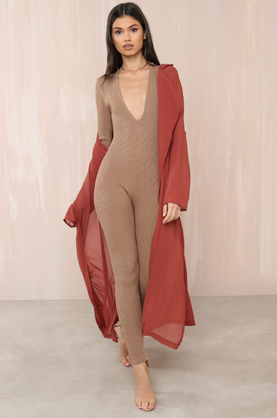 Party Of One Jumpsuit - Nude