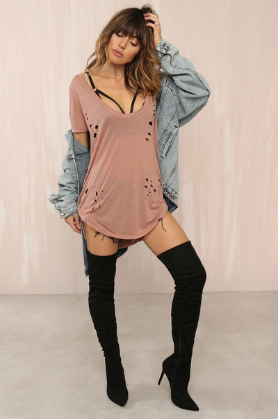 Spill The Tee Top - Mauve
