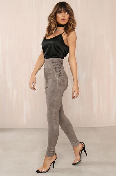 Line Crossed Pants - Grey