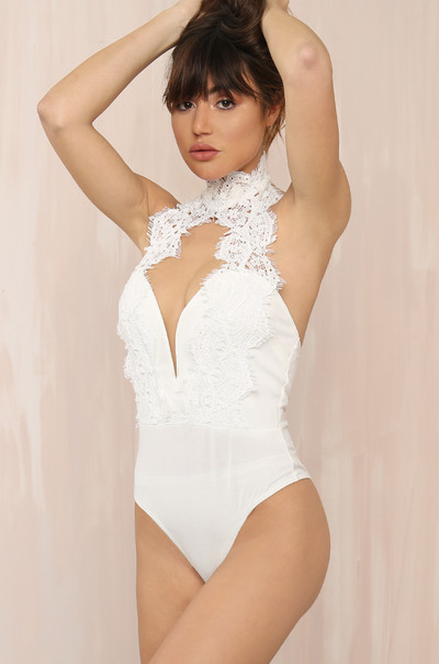 Lace Talk Bodysuit - White