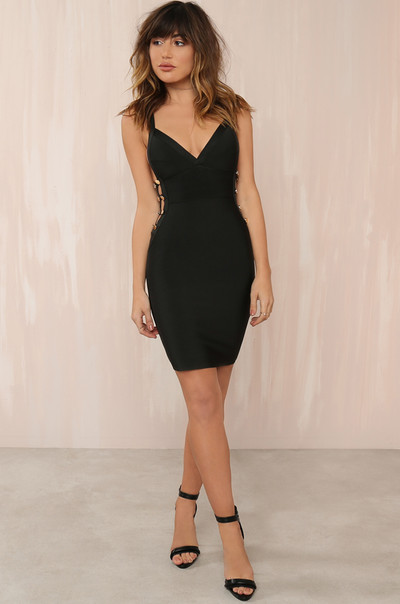 Hot Exposure Dress - Black