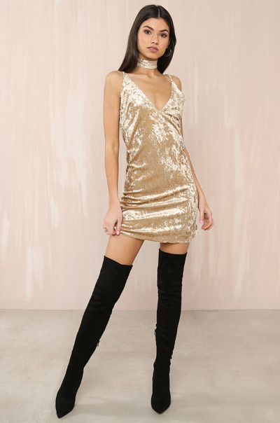 Such A Lush Dress - Gold Velvet