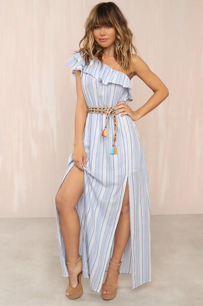 To The Slit Dress - Striped