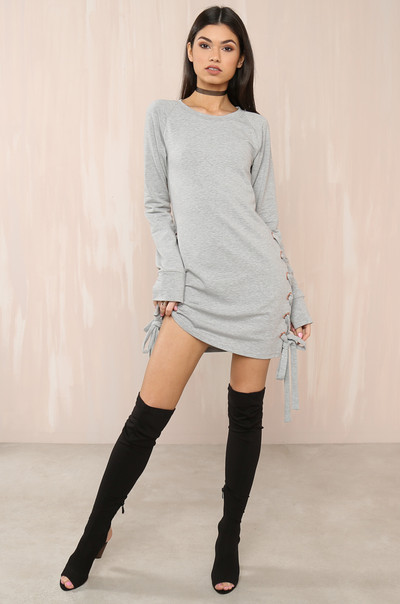 Peek Through Dress - Grey
