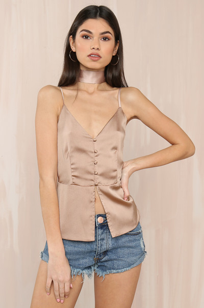 Top This Cami - Nude Satin