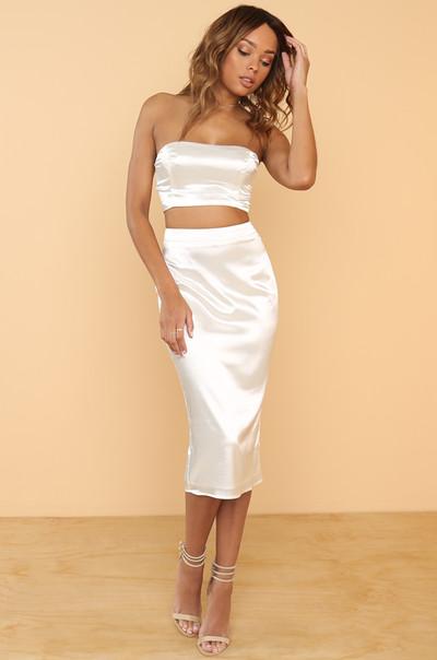 Two Good Skirt - White Satin