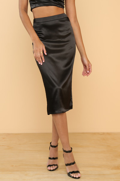 Two Good Skirt - Black Satin