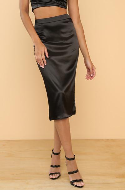 Two Good Skirt - Black Satin