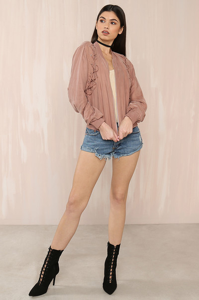 Double Crossed  Jacket - Mauve
