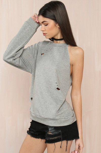 Off And On Sweater - Grey