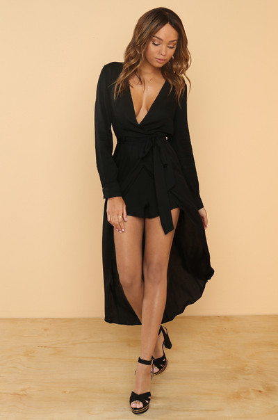 Rising Temperature Romper - Black