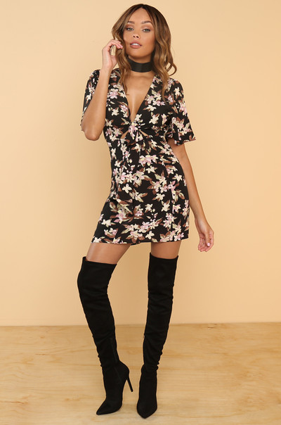 Go Fleur It Dress - Black Floral