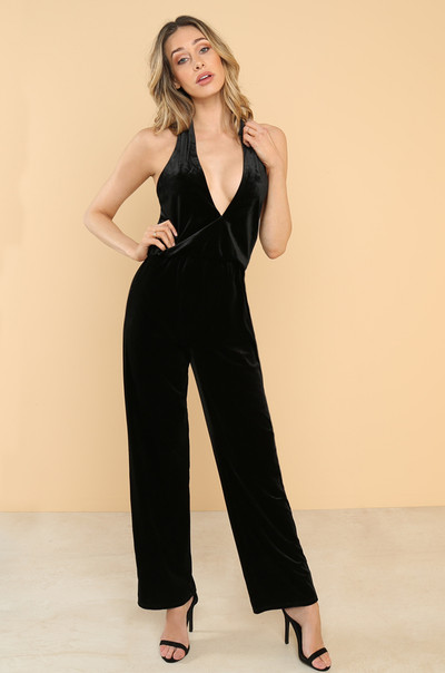 Front And Center Jumpsuit - Black Velvet