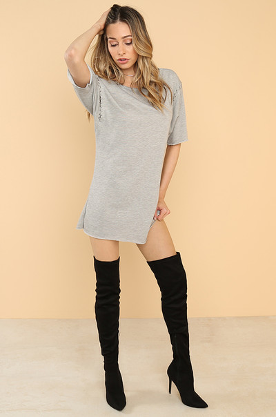 Hooked On You T-Shirt Dress - Grey