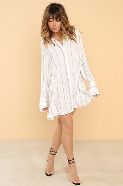 Straight Across Dress - Striped