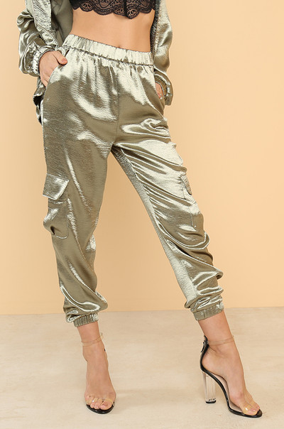 Sweet Walk Joggers - Olive Satin