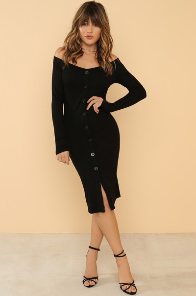 Push My Buttons Dress - Black