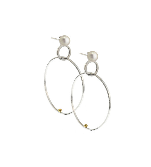 designer Double Hoop Earring with Pearl - small  14k white gold, 18k gold detail