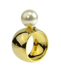 Mod Ring .  Designer jewelry.  14k gold, pearl, 18k gold ball- signature detail