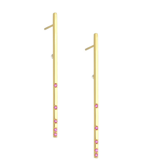 Designer jewelry.  14k Gold Single Ray bar earrings set with Pink Sapphires