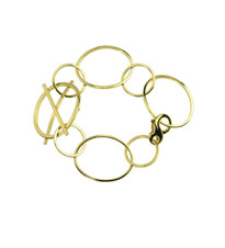 Lauren Chisholm 14k yellow gold XO link bracelet, 18k signature ball detail, designer jewelry