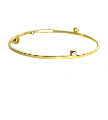 Lauren Chisholm designer jewelry, 14k yellow gold bangle bracelet, features 3 bezel set white topaz gemstones with signature 18k gold ball detail.
