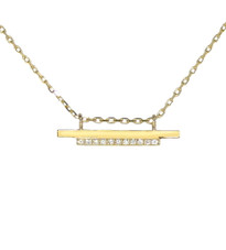 "High Line Necklace solid gold, diamonds, 16""-17""-18"" chain adjustment Modern chic designer jewelry"