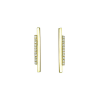HIgh Line Diamond Earrings, designer jewelry, 14k gold, 18k signature gold ball detail