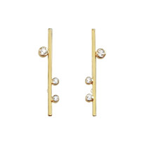 14k yellow gold modern design earrings, hand set white topaz gemstones,  signature 18k contrasting gold ball.