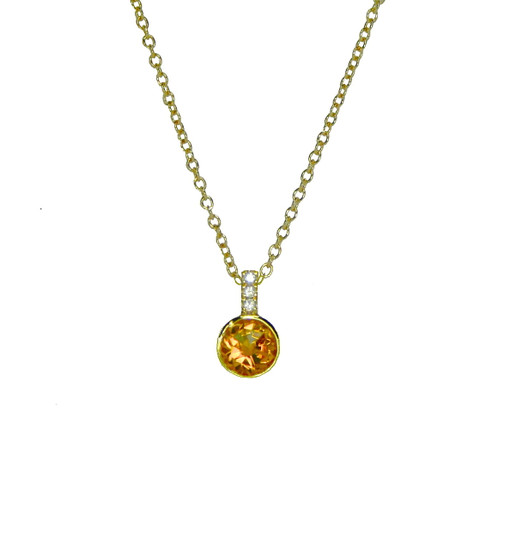 Lauren Chisholm Diamond Gem Necklace, citrine, diamonds, 14k gold, 18k signature detail