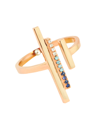 Lauren Chisholm Mini High Line Ring featuring white diamonds, light aqua diamonds, blue sapphires set in 14k rose gold, 18k gold signature detail