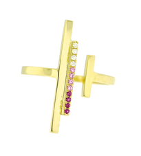 Lauren Chisholm Mini High Line Ring Pink Ombre- diamonds, pink sapphires, 14k, 18k signature ball detail.