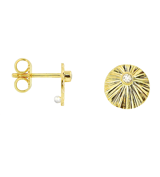 Lauren Chisholm designer jewelry. Diamond Starburst Stud Earrings, 14k, 18k, bezel set diamonds