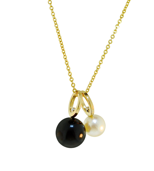 "Lauren Chisholm designer jewelry, Onyx & Pearl Drop Charm Necklace, 14k, 18k detail, 16"" chain"