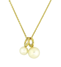 Lauren Chisholm designer jewelry.  Pearl Drop Charm Necklace- short stack features 8mm & 6mm freshwater pearls, high polish 14k gold, 18k gold detail.